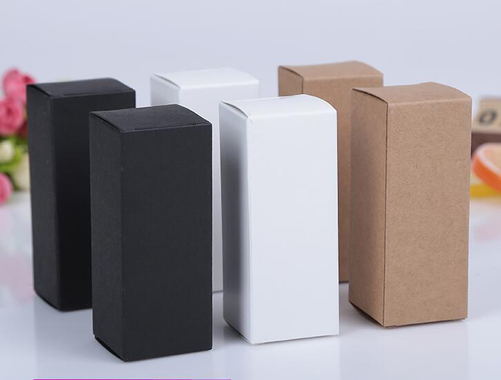 50pcs 6 Sizes Black White Kraft Paper Cardboard Box Lipstick Cosmetic Perfume Bottle Kraft Paper Box Essential Oil Packaging Box