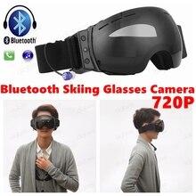 2017 Novo Esporte Ao Ar Livre DV HD 720 P Anti UV Anti-Nevoeiro óculos de Neve Óculos de Esqui Esqui Óculos Câmera Inteligente óculos de sol Do Bluetooth fone de Ouvido