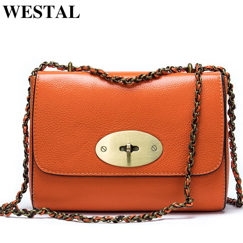 WESTAL Women's Shoulder Bag Genuine Leather luxury handbags designer Leather Crossbody bags for women messenger bags lady flap
