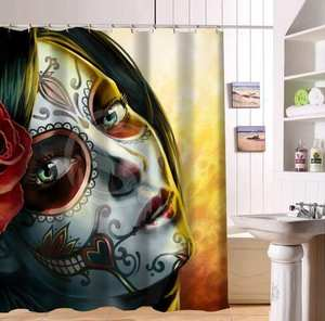 Customized Abstract Beautiful Make Up Girl Shower Curtain Waterproof Bathroom Fabric 180x180cm For