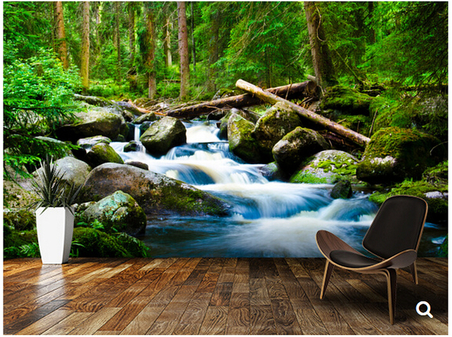 Custom Natural Scenery WallpaperDeep Wood3D Photos For The Living Room Bedroom Restaurant