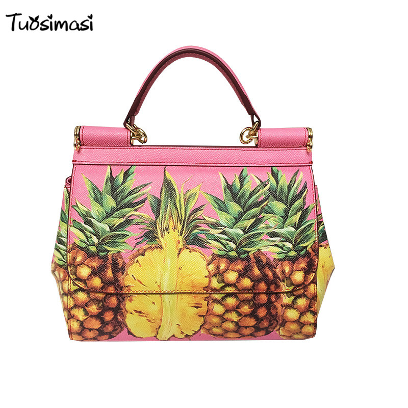 2018 Summer pineapple pink Bag Cute Fruit runways party leather vintage retro Sicily print totes Handbags (HB009) pineapple print pillowcase