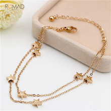 Romad Dainty Cute Beads Star Anklet Jewelry Rose Gold Silver Color Double-Layered Chain Anklet Bracelet For Woman Gift цена в Москве и Питере