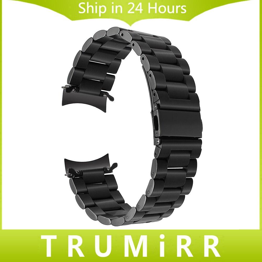 22mm Edelstahl Uhrenarmband Schnellverschluss Strap für Samsung Getriebe S3 Klassische Frontier Handgelenk Gürtel Link Armband Schwarz silber