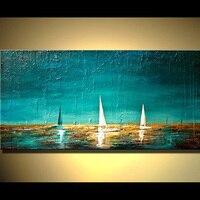 Handmade Abstract Pictures Pesado Texturizado Pintura na Lona Barcos no Mar Oceano Seascape Pinturas A Óleo Pintados À Mão Arte de Parede Exclusivo