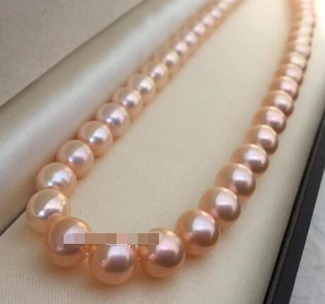 Perfect AAA+ 9-10mm Natural pink pearl necklace 14 clasp 17.5Perfect AAA+ 9-10mm Natural pink pearl necklace 14 clasp 17.5