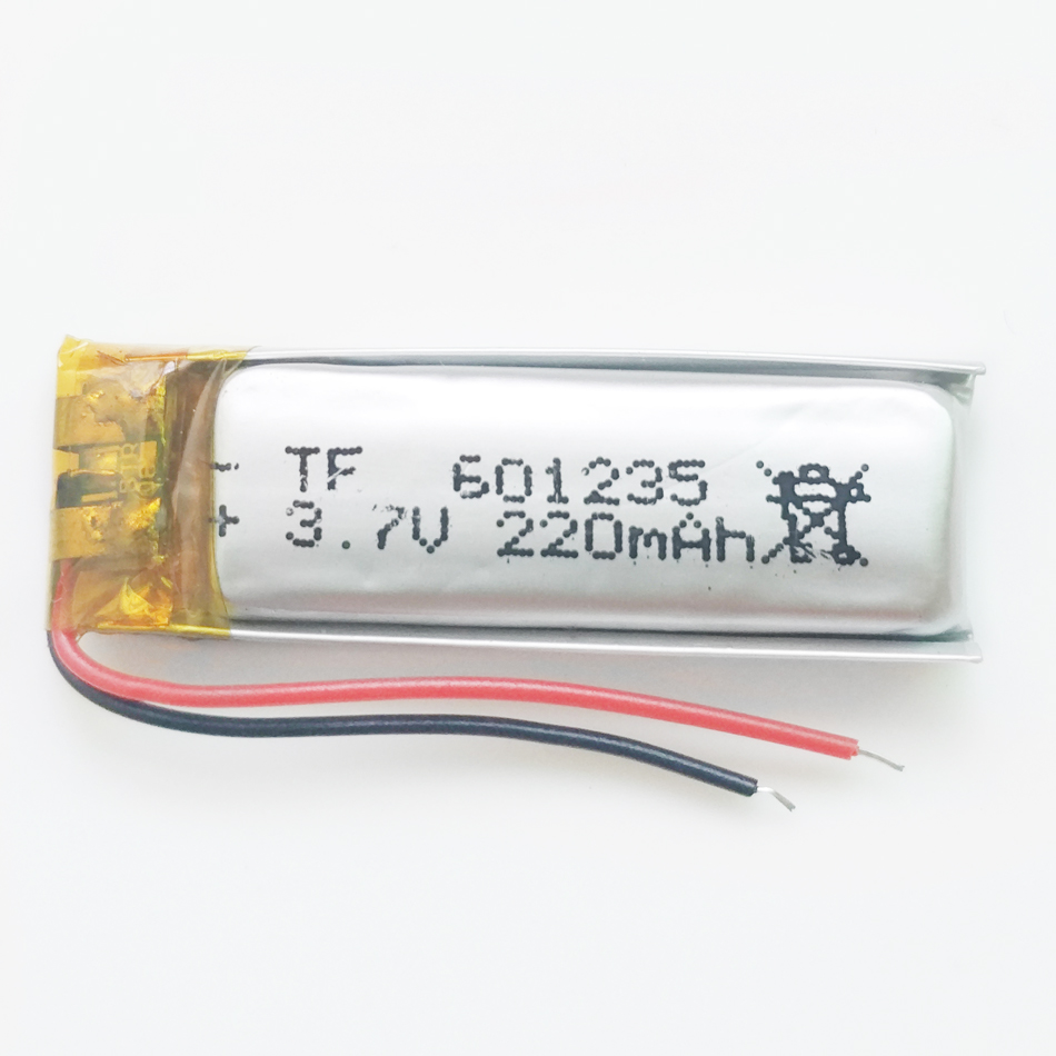 3.7V 220mAh Rechargeable Battery 601235 Lithium Polymer Li-Po ion batteries For DIY Mp3 GPS PSP bluetooth Headphone Headset