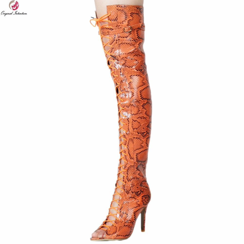 Original Intention New Sexy Women Over-the-Knee Boots Peep Toe Thin Heels Boots Brown Orange Snake Shoes Woman Plus Size 4-15Original Intention New Sexy Women Over-the-Knee Boots Peep Toe Thin Heels Boots Brown Orange Snake Shoes Woman Plus Size 4-15