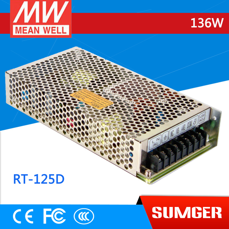 ФОТО [Freeshiping 1Pcs] MEAN WELL original RT-125D meanwell RT-125 136W Triple Output Switching Power Supply
