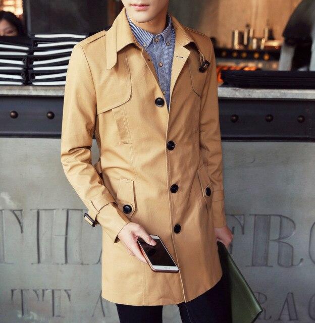 M-5XL Mens Sobretudo Longo Trench Coat Homens T920 Novo Slim Fit Longo Inverno Trench Coat Moda Masculina