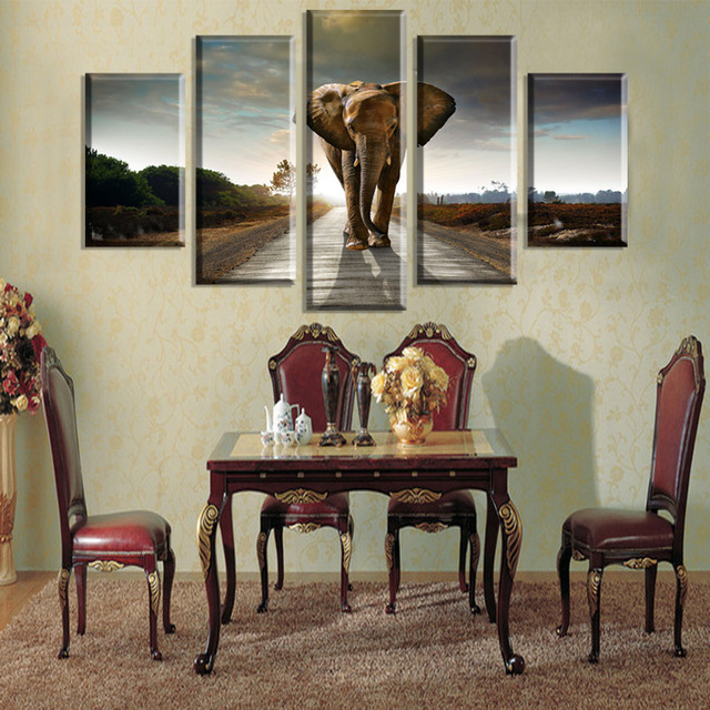 huge elephant canvas wall art to protect animals against hunting