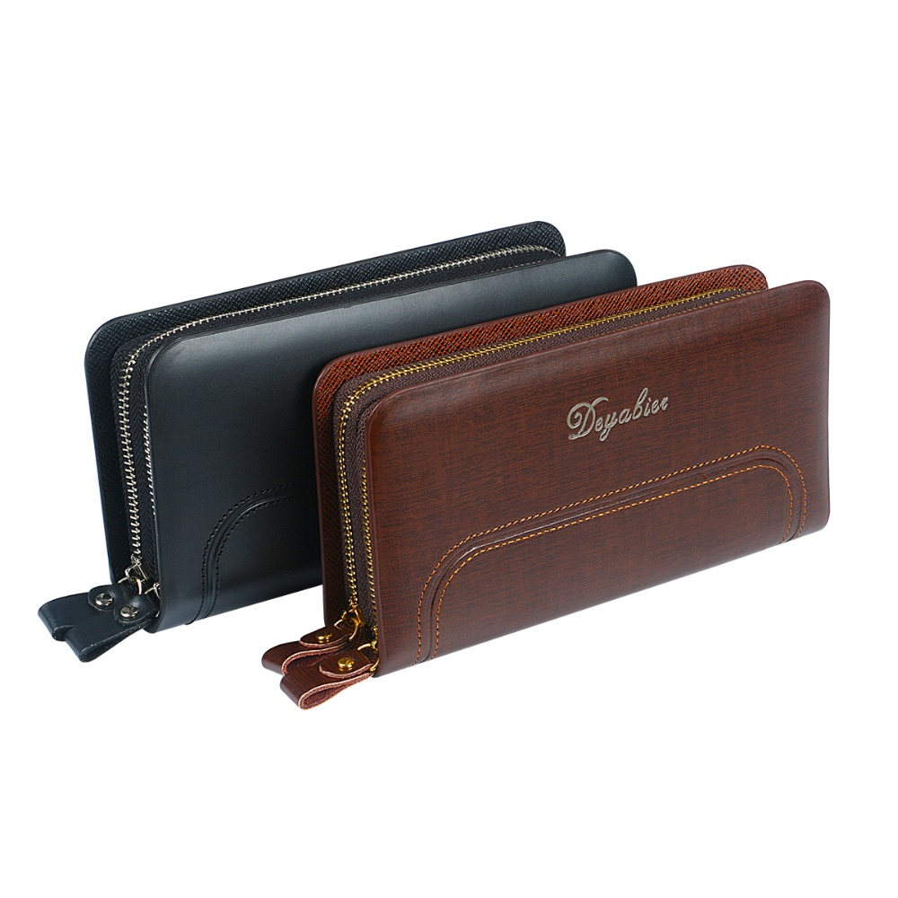 Fashion Men Clutch Bags Double Zippers Men Wallets Purse Male Wallet Leather Long Male Bag Wristlet Large Capacity Coin Purses 2016 famous brand new men business brown black clutch wallets bags male real leather high capacity long wallet purses handy bags