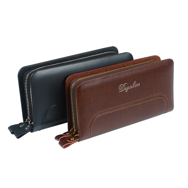 9085476adc48 US $8.9 39% OFF|Fashion Men Clutch Bags Double Zippers Men Wallets Purse  Male Wallet Leather Long Male Bag Wristlet Large Capacity Coin Purses-in ...