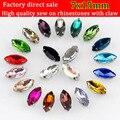7x15mm 20 unids/lote forma de ojo de caballo coser en diamantes de imitación de garra plateada, Multicolor elegir
