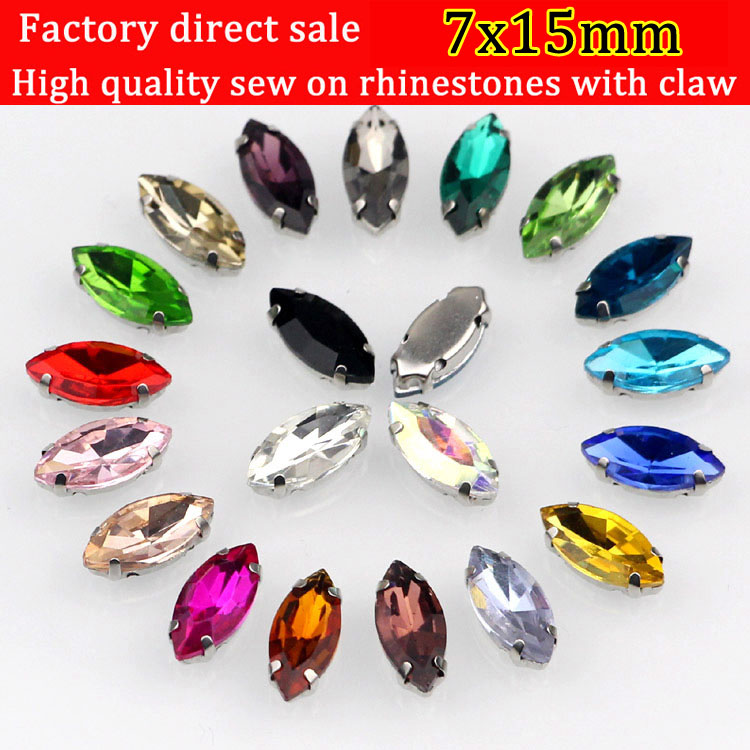 7x15mm 20pcs / lot Hestøyeform Sy på silvery claw Rhinestones, Multicolor choose