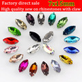 7x15mm 20pcs/lot Horse Eye shape Sew On silvery claw Rhinestones, Multicolor choose