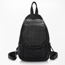 Mochila Feminina Rushed Kpop 2016 New Leather Bags Leisure Bag Backpack All-match Wholesale Retail Rivet Free Shipping C050