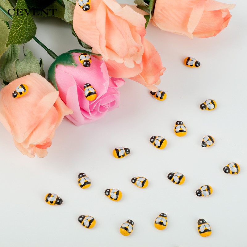 CEVENT 100pcs/bag Mini Bee Wooden DIY Ladybug Stickers Scrapbooking Easter Decoration Home Wall Decor Birthday Party Decorations(China)