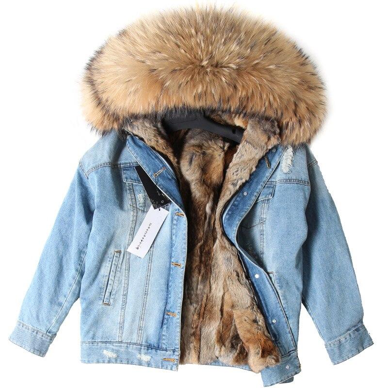 2018 naturel lapin fourrure doublé denim veste raton laveur fourrure manteau manteau mode denim raton laveur fourrure chaude dame hiver veste femmes parka