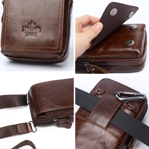 Image 5 - Men Bags Genuine Leather Waist Pack Shoulder Crossbody Bags CrossbMessenger Bag Men Shoulder Bags Phone Pouch Male zznick