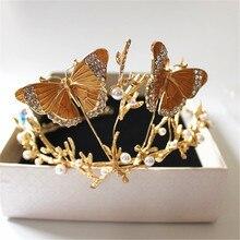 De gama alta ab crystal chapado en oro de la mariposa de la perla imitado banda para el cabello nupcial corona de la tiara tiara de la boda de Corea al por mayor