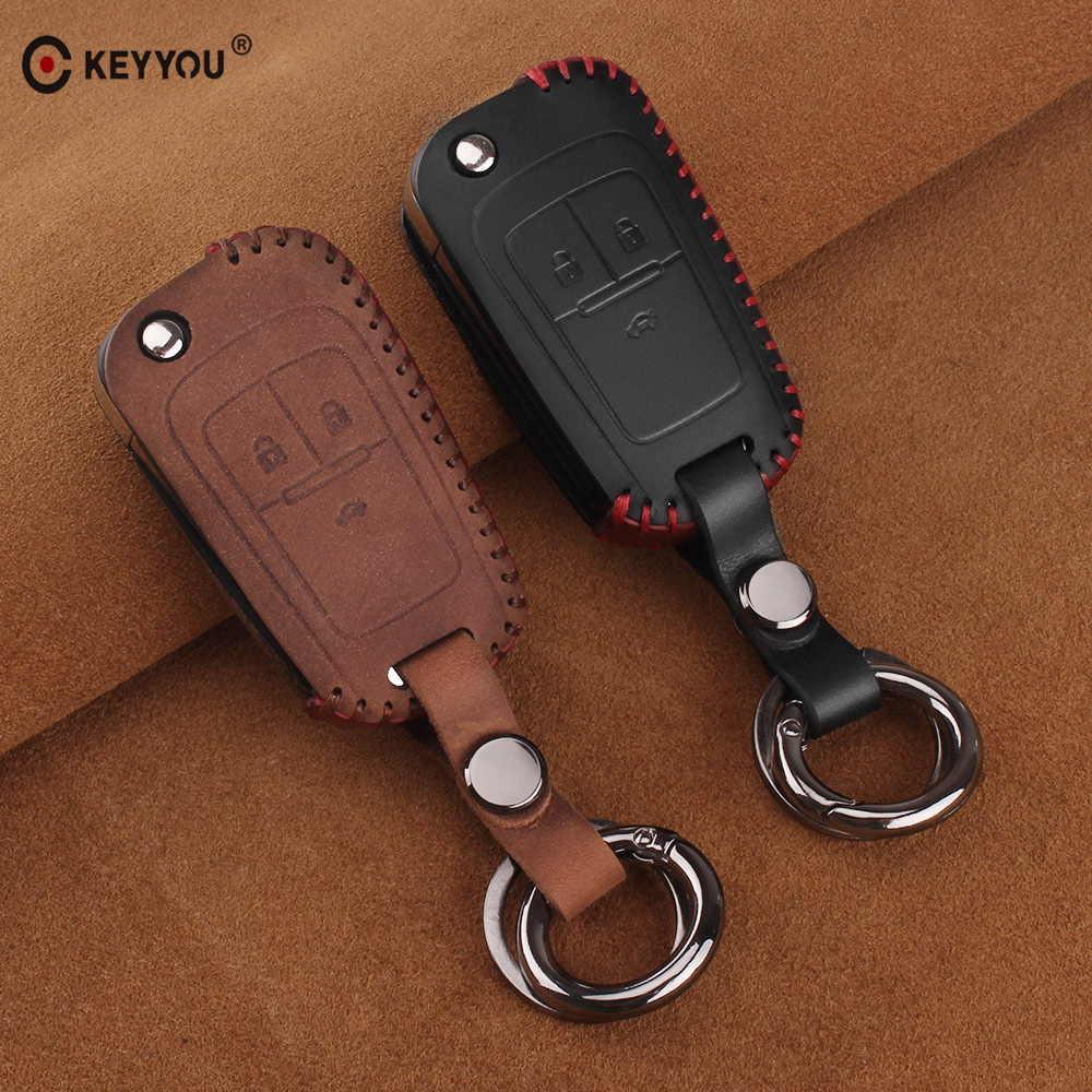KEYYOU Leather Protecting Key Case Cover Fob Holder For Chevrolet Cruze Spark Epica Lova Camaro Impala For Buick VAUXHALL OPEL
