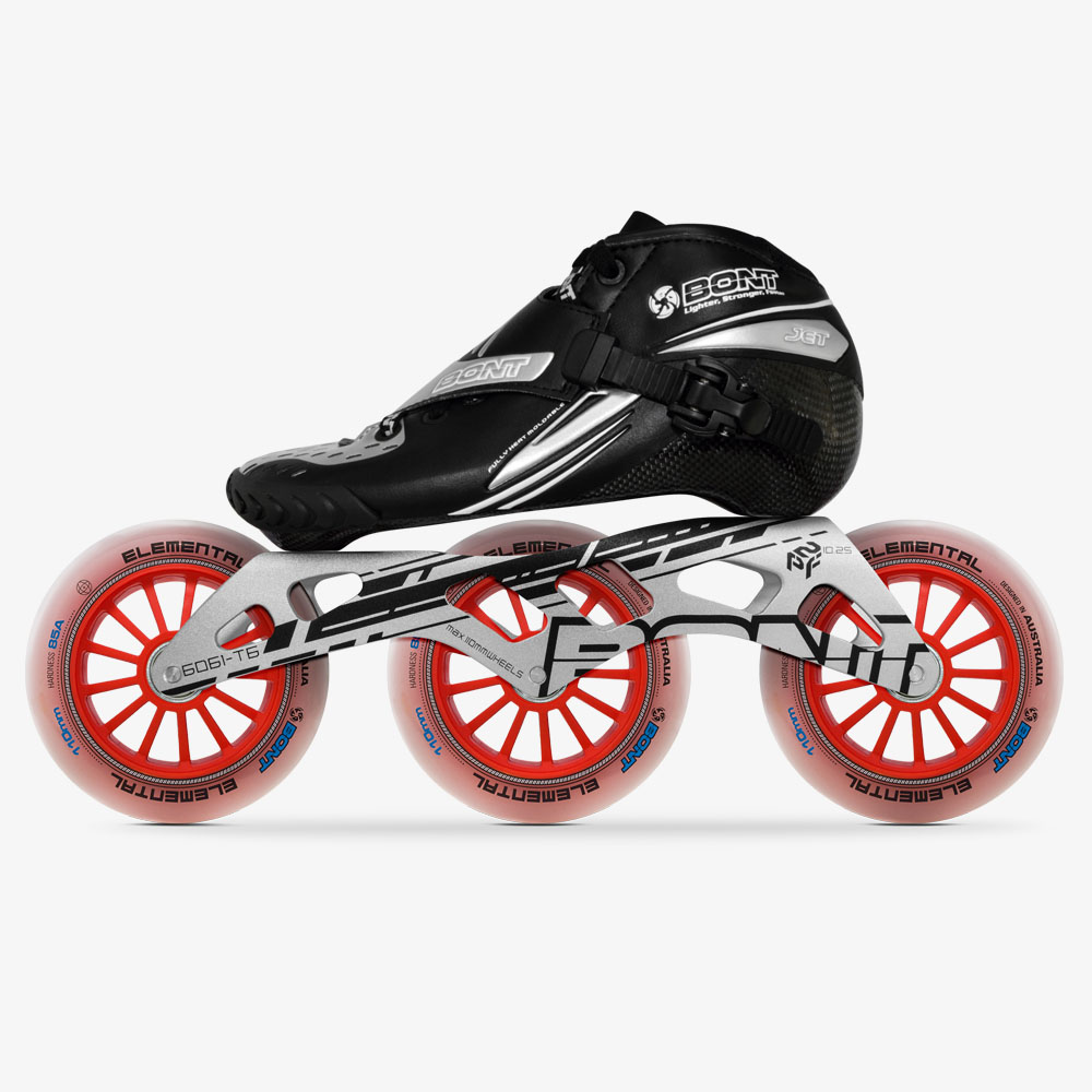 100% Original Bont Jet Speed Inline Skates Size 29-40 Heatmoldable Carbon Fiber Frame 3*110mm Elemental Wheels Racing Patines