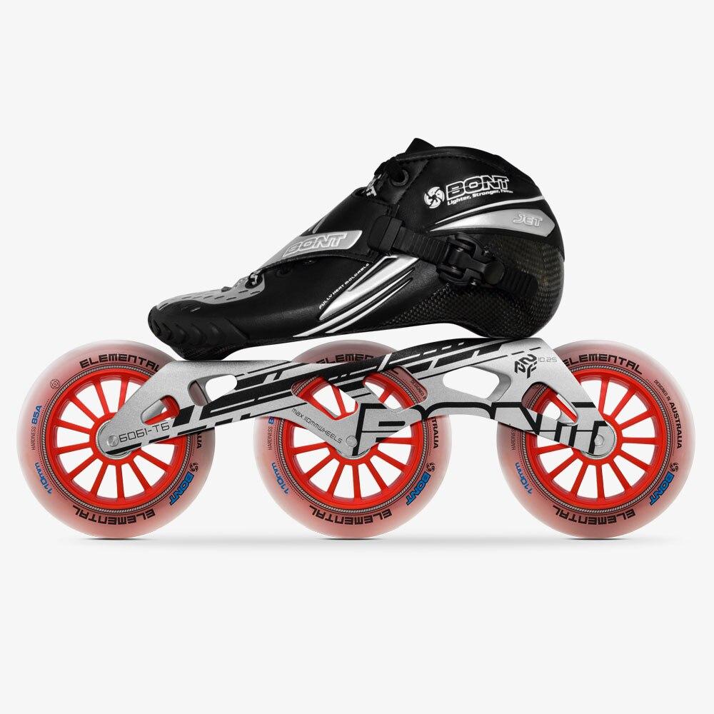 100% Original Bont Jet Speed patins à roues alignées taille 29-40 cadre en Fiber de carbone moulable 3*110mm roues élémentaires Patines de course