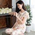 Floral Pijamas Primavera Y el Verano Femenino Dulce 100% Tejido de Algodón de Las Mujeres ropa de Dormir Conjunto de Salón de Manga Corta Más El Tamaño Libre gratis