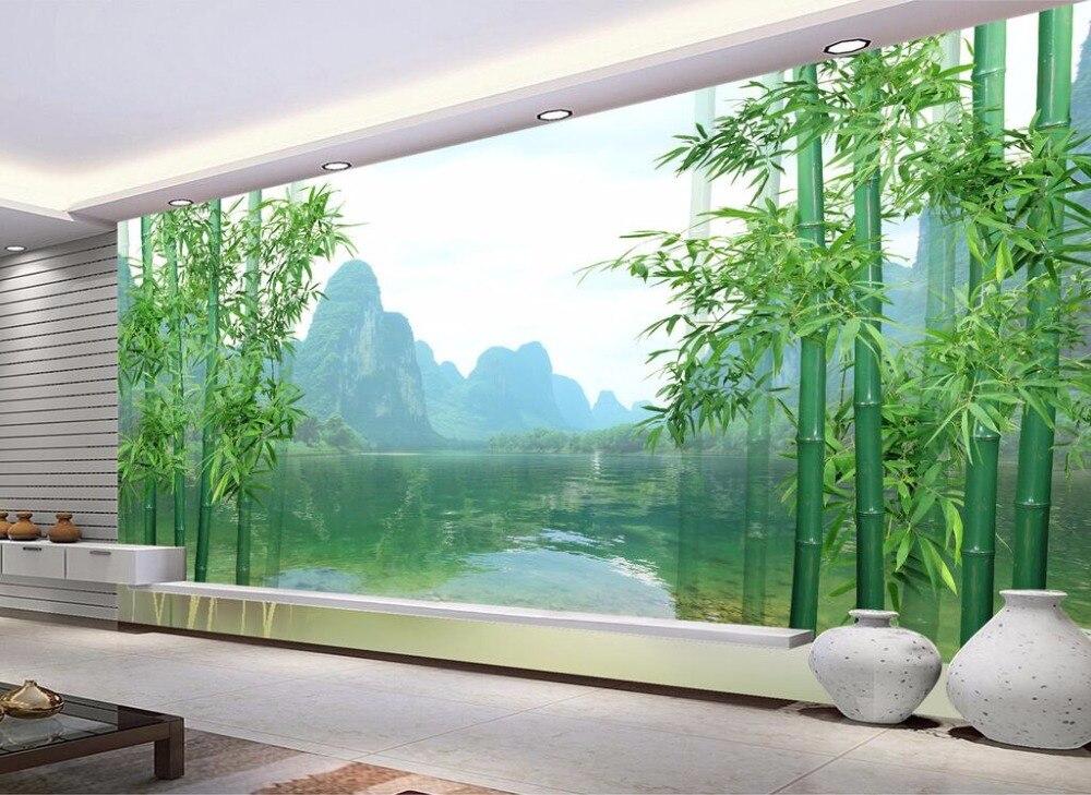 Custom mural 3d wallpaper 3d chinese bamboo guilin for Mural 7 de setembro
