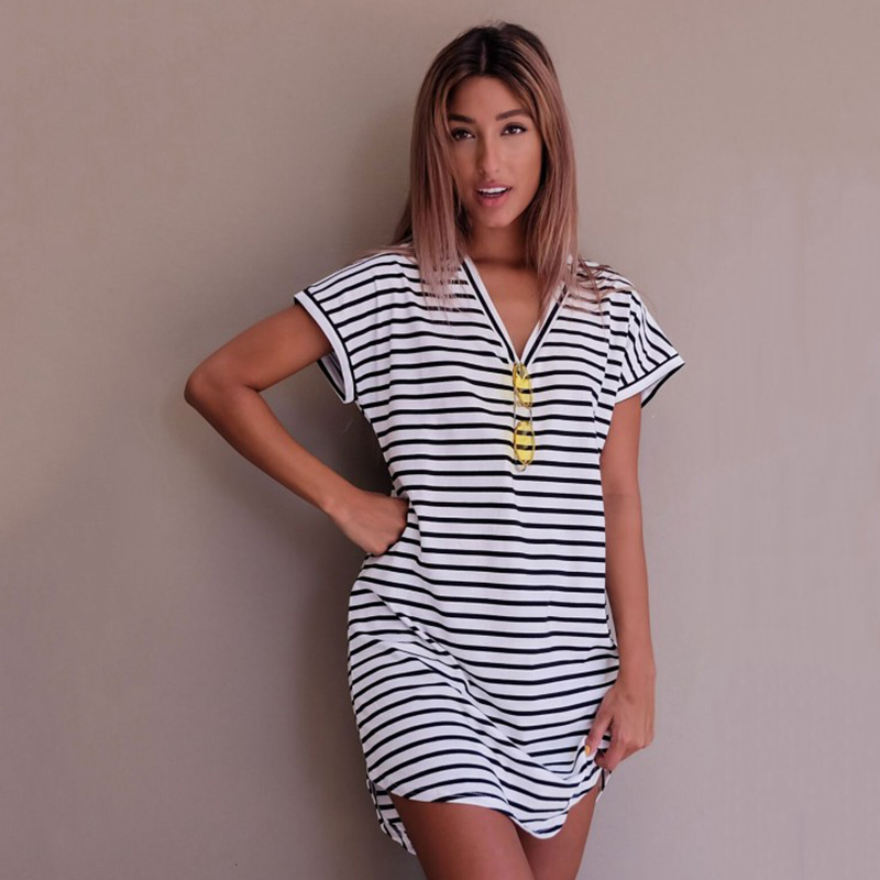 Купить со скидкой 2017 Dress Women Summer V-Neck Cotton Knitted Casual Straight Mini T-Shirt Black &Grey Striped Short