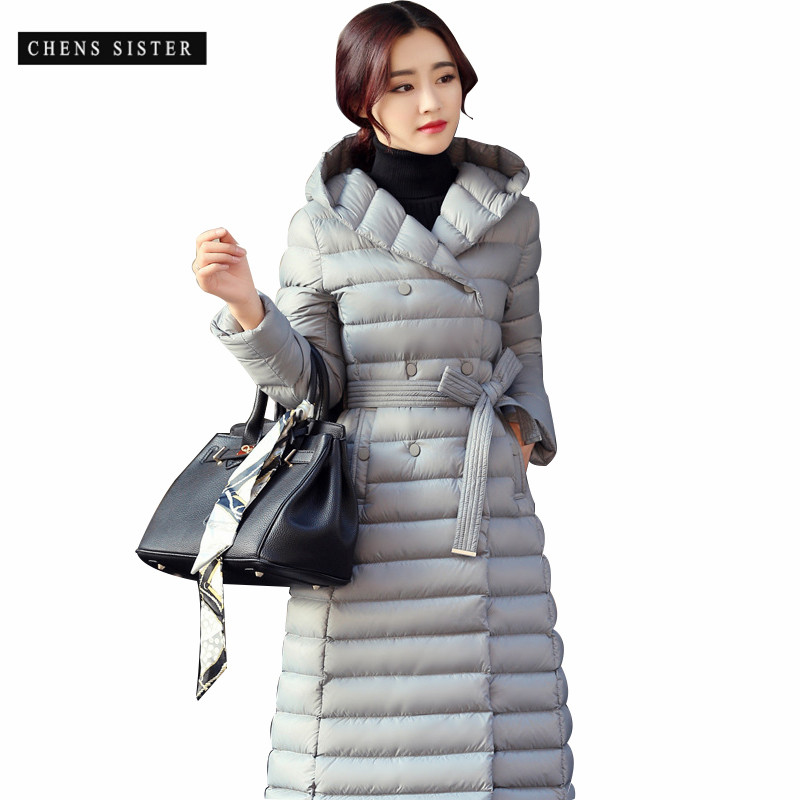 [CHENS SISTER] 2018 New Fashion Loose Solid Color Single Breasted Long Padded Cotton Coat Women Ultra Light Down Jacket Women