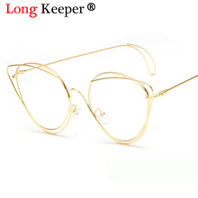 Long Keeper 2018 New Vintage Cat Eye Sunglasses Women Gold Metal Eyewear UV400 Sun Glasses Female Red Candy Color Cateye Glasses
