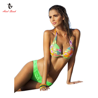 2017 New European And American Style Steel Ring Bikini Printed Swimsuit Super Push Up Bikini