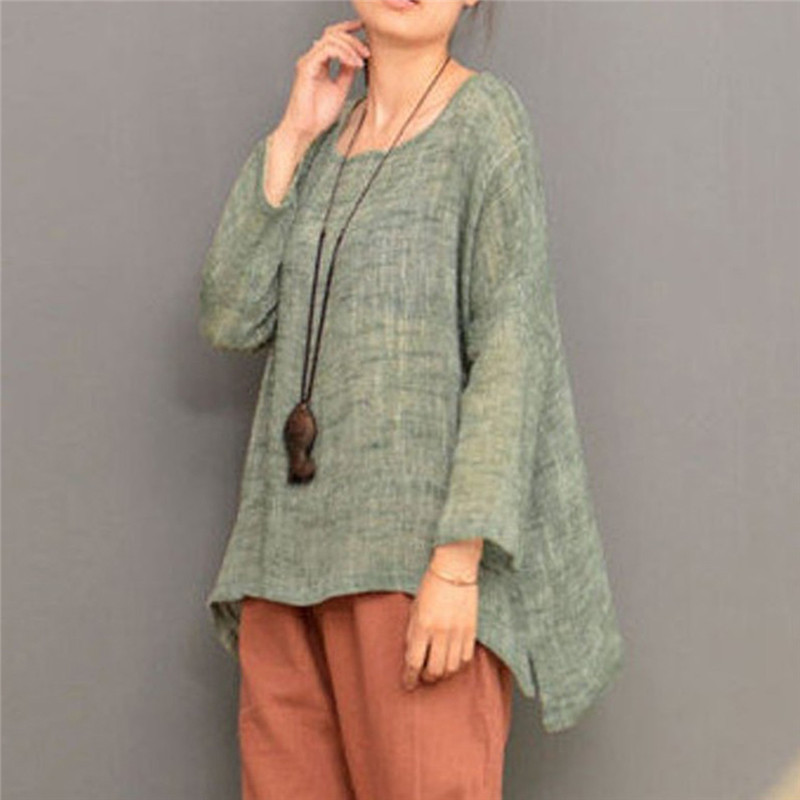 Vintage Cotton Linen Women Tunic Tops 2018 Summer Long Sleeve Plus Size Ladies Blusas Blouses 4XL 5XL Causal Loose Shirts Femme