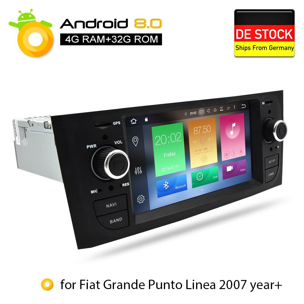 Android 8.0 4G RAM dvd de voiture Stéréo Headunit Pour Fiat Grande Punto Linea 2007 2008 2009 2010 2011 2012 auto-radio navigation gps