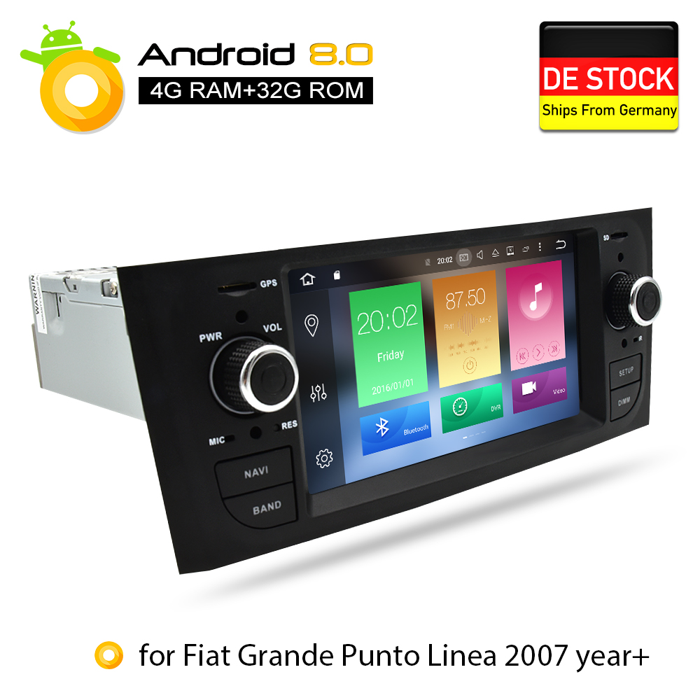 Android 8.0 4g RAM Voiture DVD Stéréo Headunit Pour Fiat Grande Punto Linea 2007 2008 2009 2010 2011 2012 auto radio GPS Navigation
