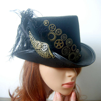 Retro Vintage Unisex Steampunk Feather Wing Gears Black Top Hat Gothic Victorian Hats Halloween Lolita Cosplay
