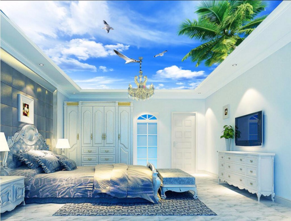 Custom photo 3d wallpaper ceiling mural Coconut trees blue sky and white clouds painting 3d wall murals wallpaper for walls 3 d high definition sky blue sky ceiling murals landscape wallpaper living room bedroom 3d wallpaper for ceiling