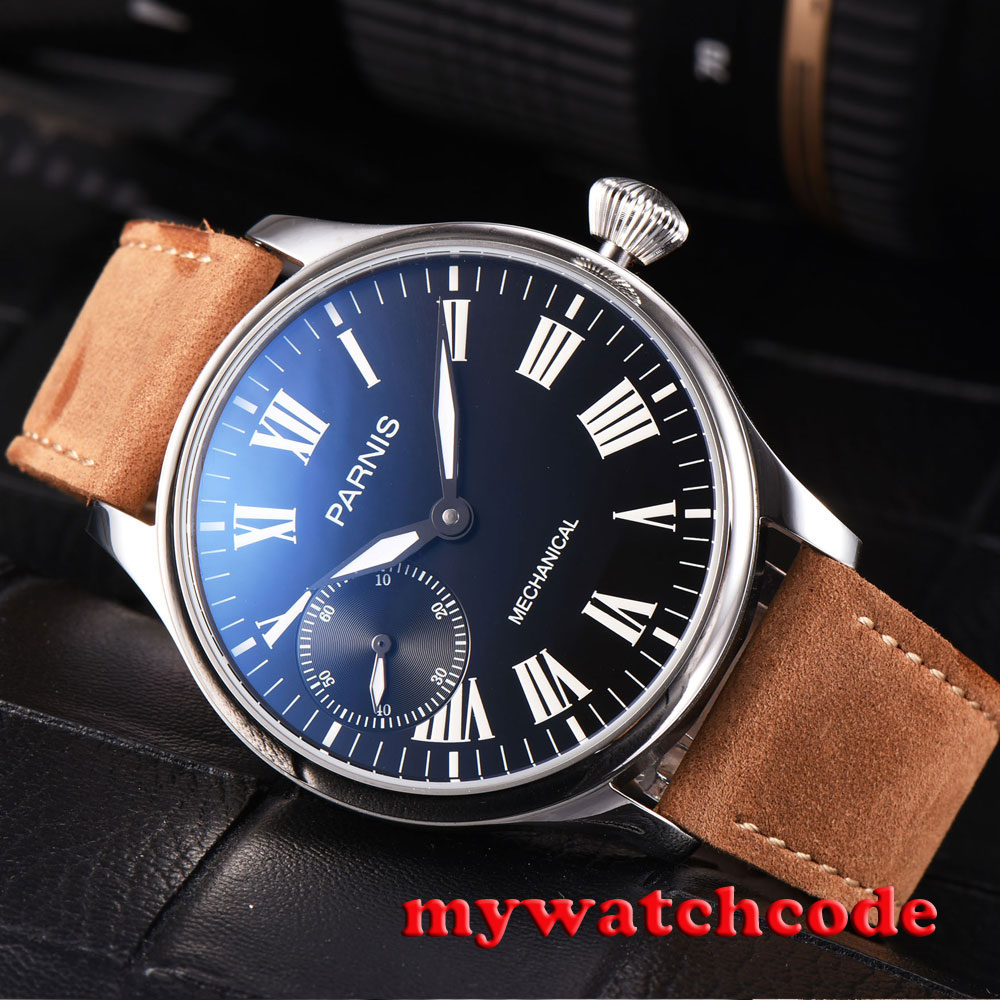 44mm parnis black dial luminous marks leather 6497 hand winding mens watch P807 44mm black sterile dial green marks relojes 6497 mens mechanical hand winding watch luminous armbanduhr cm164bk