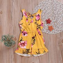 Summer Floral Toddler Baby Girl Dress Yellow Sleeveless Top Siamese Short Infant Girls Clothing Outfit Beach Clothes 1-6T