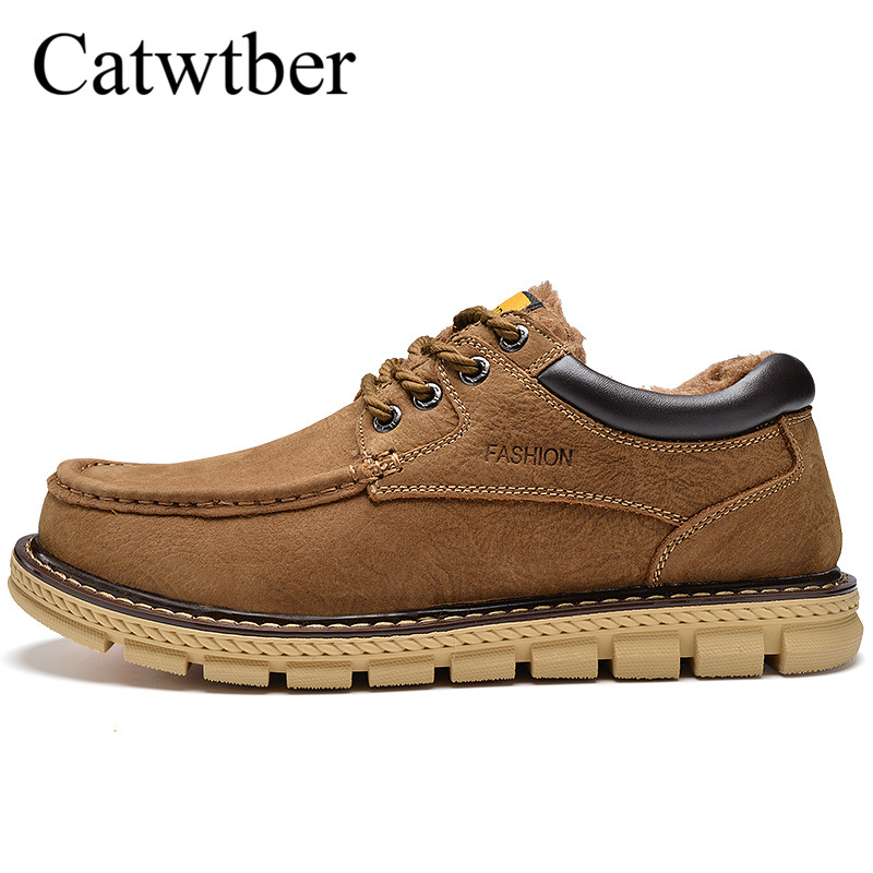 Catwtber Autumn Winter Warm Fur Men Boots Style Fashion Slip on Ankle Boots Men's Shoes Comfortable Male Outdoor Casual Sneakers xiu xian warm plush winter ankle boots for women slip on comfortable lady shoe 2017 new fashion casual young style handsome girl