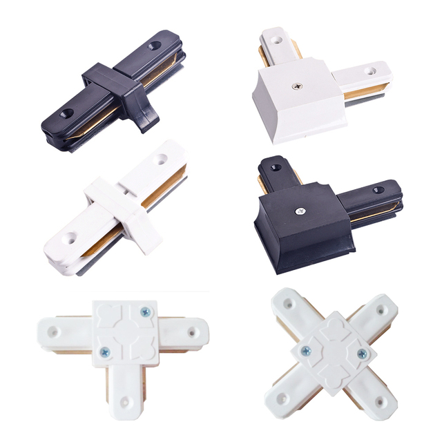 I L T Cross Shape LED Spot Light Track Connector Rail Connector 2 Line  Wires Track Adapter Track