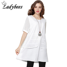 LADYBEES Plus size Dresses Women T Shirt Dress 4XL Black White Lace Patchwork Short Sleeve Loose Casual Mesh Clothing Summer New