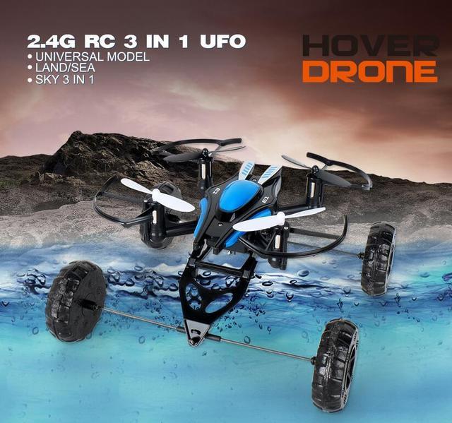 JXD 503 3-em-1 UFO RC Quadcopter 2.4G 4CH 6 Axis Mini Zangão Helicóptero Pairar Voar Unidade Nadar Brinquedos de Controle Remoto à prova d' água nova