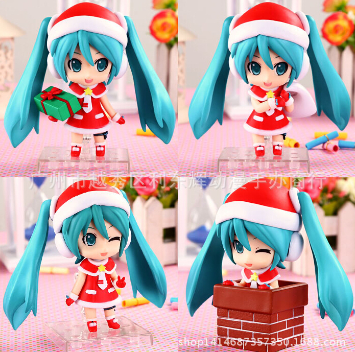 ФОТО 4pcs/set Hatsune Miku Action Figures PVC brinquedos Collection Figures toys for christmas gift Free shipping