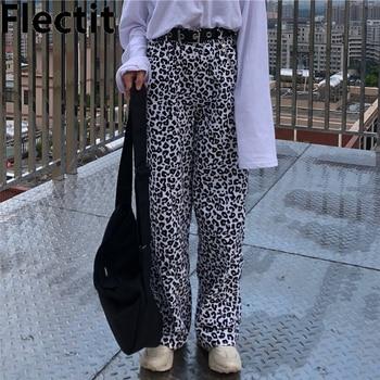 Flectit Loose-Fit Animal Print Leopard Pants With Elastic Waist Women Hip Hop Pants Long Trousers Harajuku Streetwear animal pattern elastic waist trousers