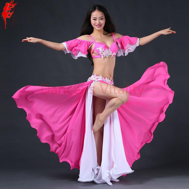 Della signora prestazioni di danza del ventre abbigliamento fatto a mano reggiseno top + gonna in chiffon 2 pz vestito danza del ventre delle donne di danza del ventre di lusso set di danza