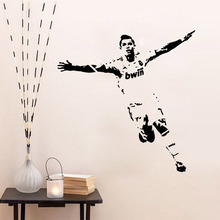 Fast shipping 60*90 cm DIY wall sticker decals Cristiano Ronaldo football living room home decoration QT218