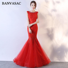 BANVASAC 2018 Crystal O Neck Lace Embroidery Mermaid Long Evening Dresses Elegant Party Tulle Open Back Prom Gowns